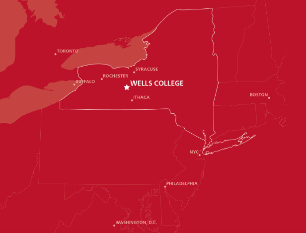 Wells College Red map of NYS
